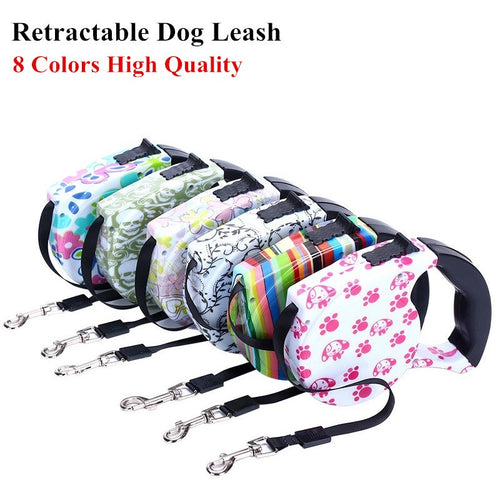 Dog Leash Retractable with nice color prints for your pets