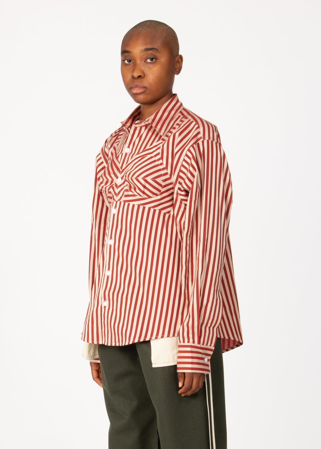 Stripe Bra Button Down