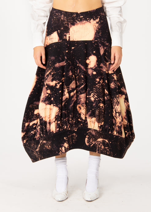 Bleached Denim Bell Skirt