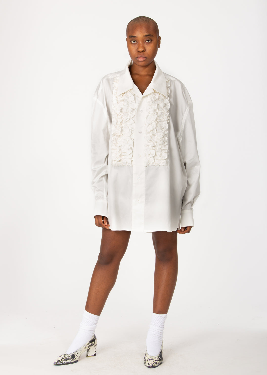White Ruffle Button Down