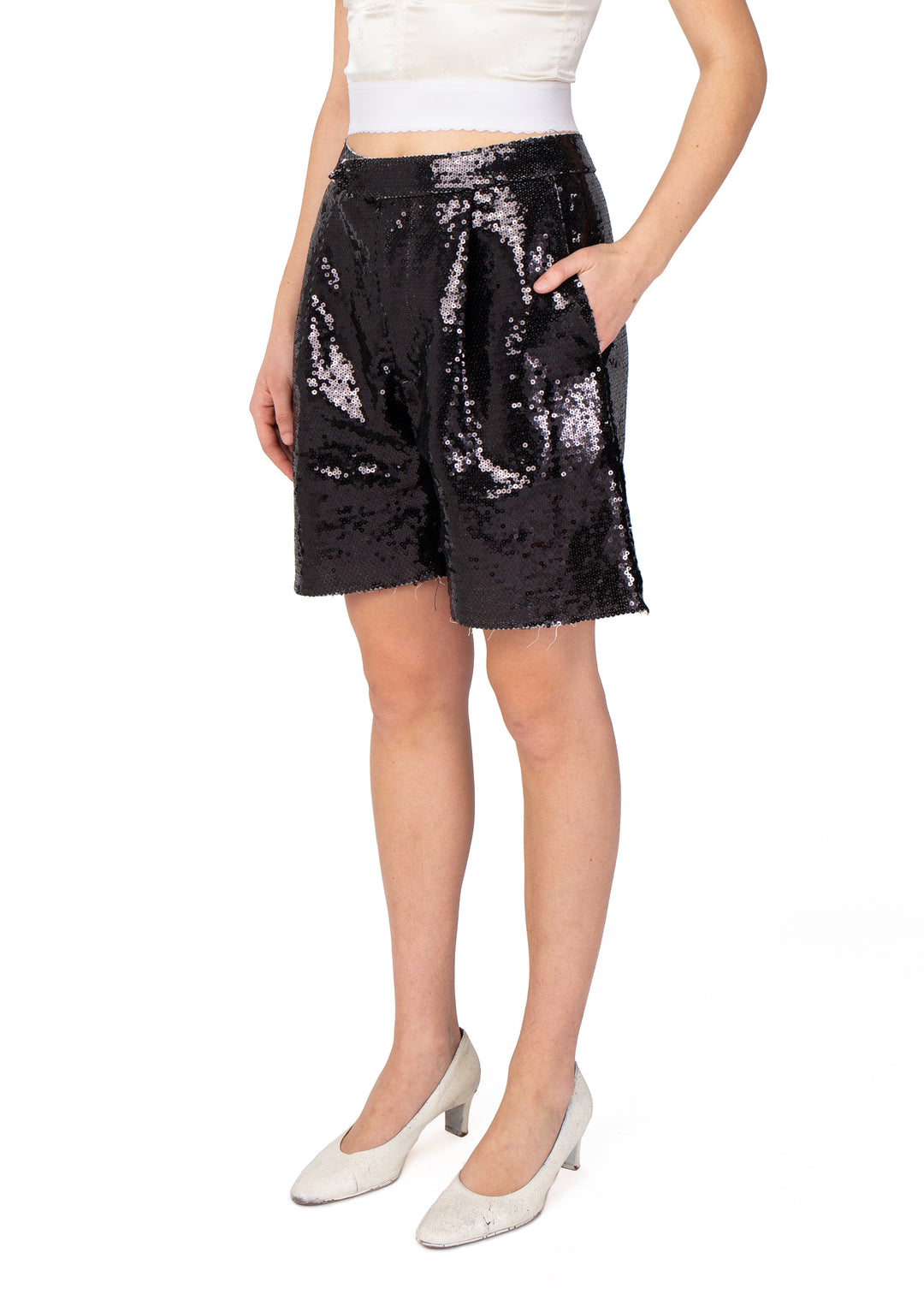 Sequin Chopped Shorts