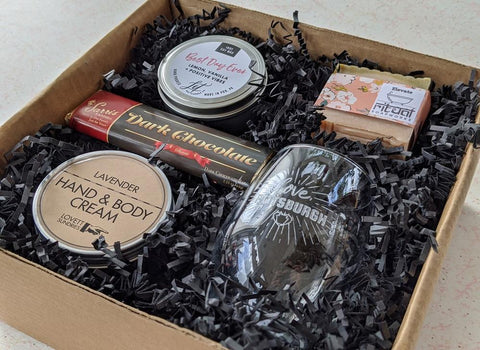 Best Day Ever Gift Box with candle, lotion, soap, dark chocolate, and a wine glass