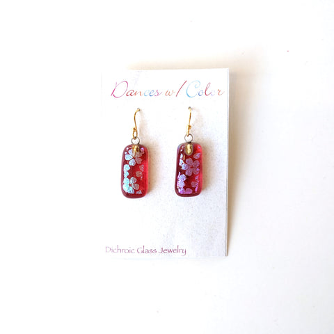Dichroic Glass Earrings - Dances with Color