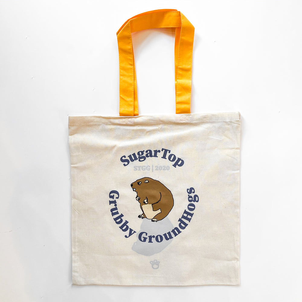 Sugar Top Grubby Groundhogs Tote with Yellow Handle