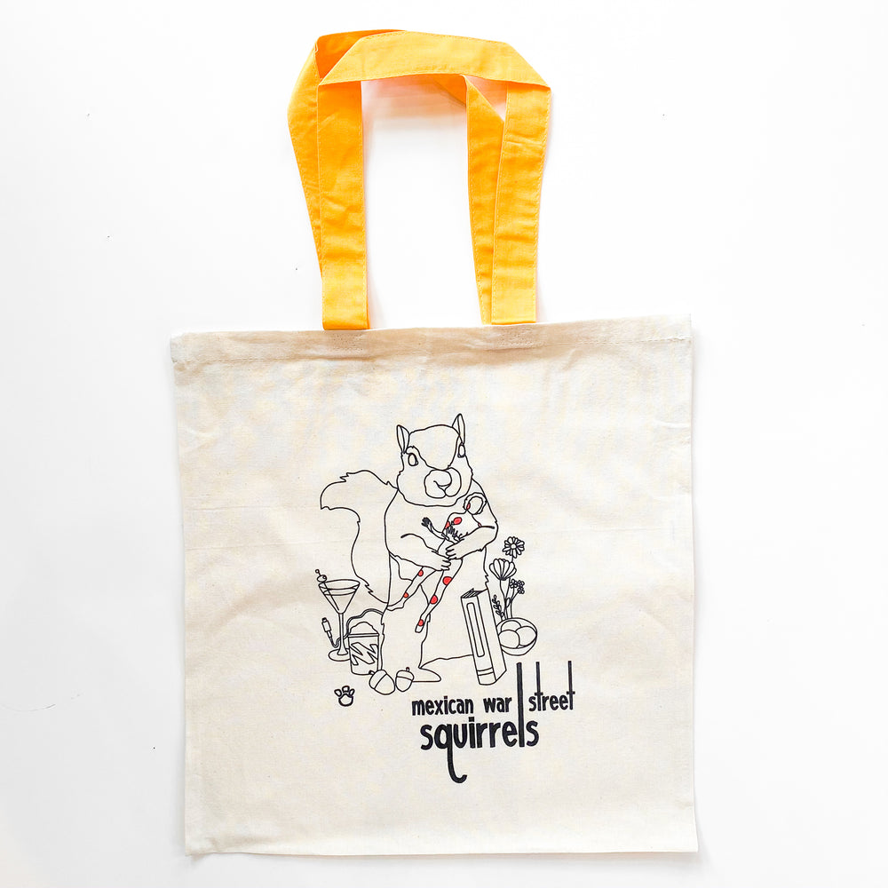 Mexican War Street Squirrels Tote with Yellow Handle