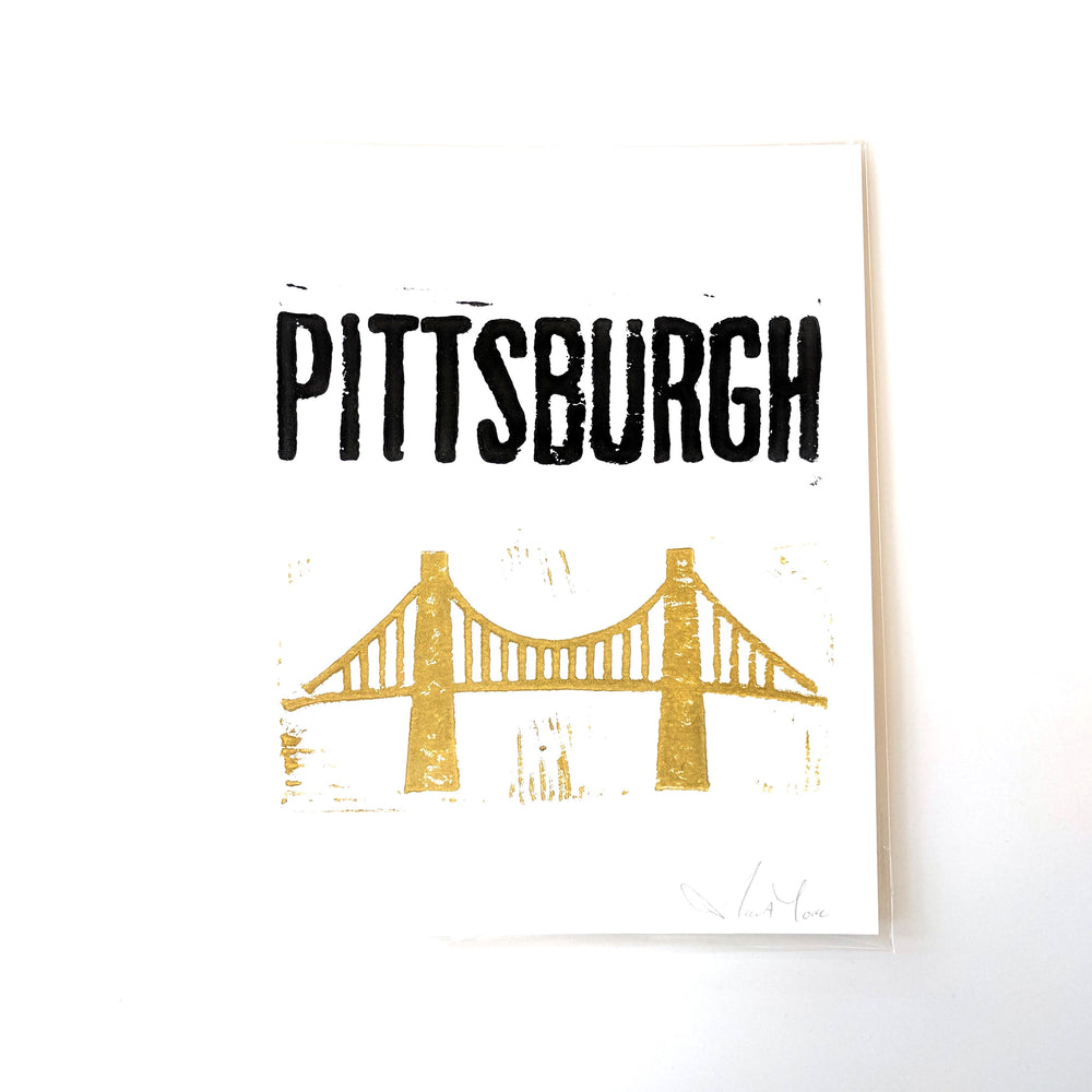 Pittsburgh Bridge Block Print