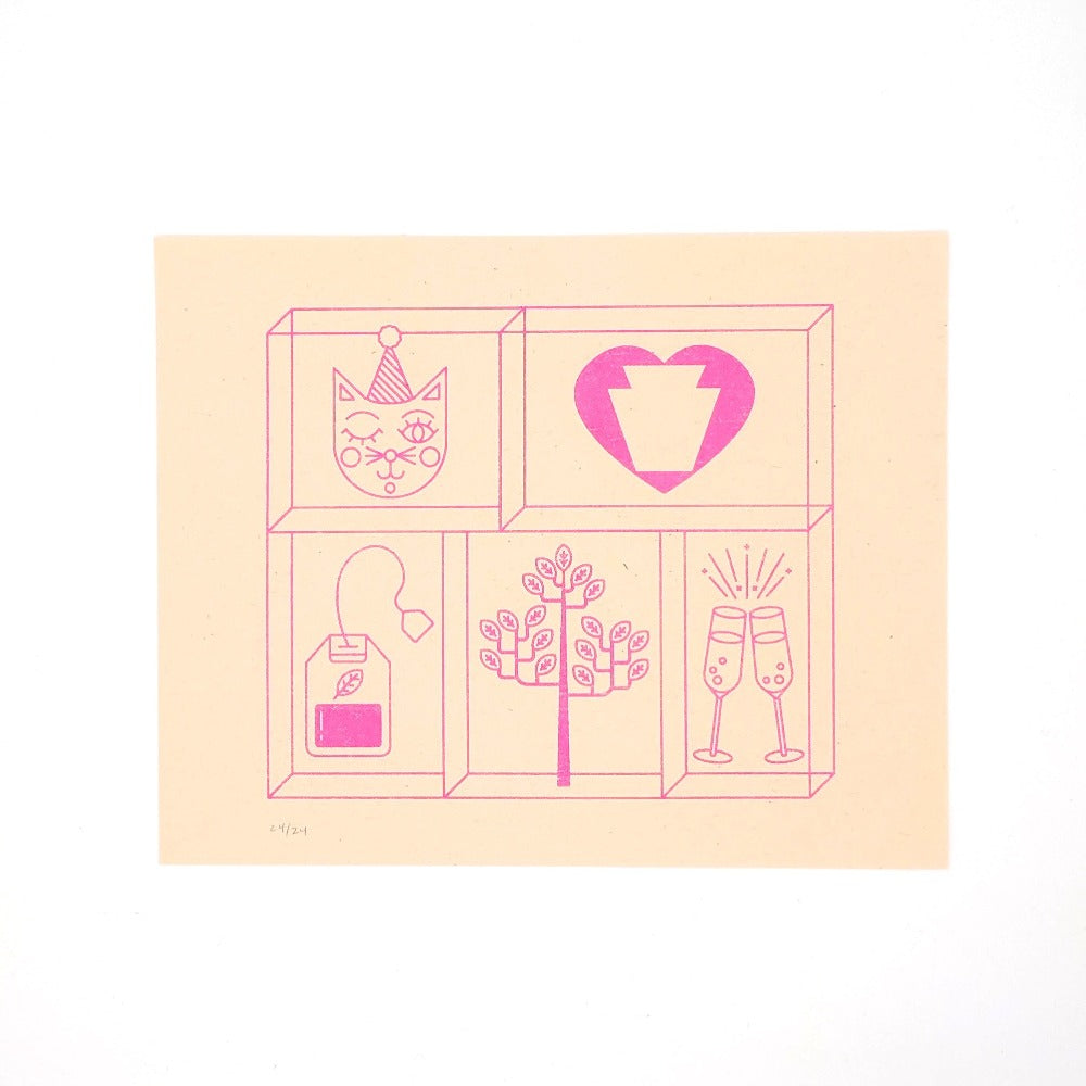 "Riscograph print in neon pink on creamsicle paper, images of a tea bag, cat, tree, champagne glasses, 8"" x 10"""