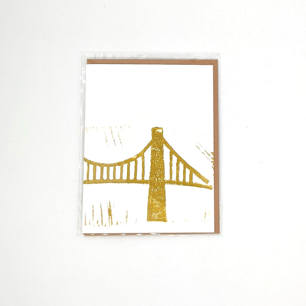 Gold Bridge Block Print Card