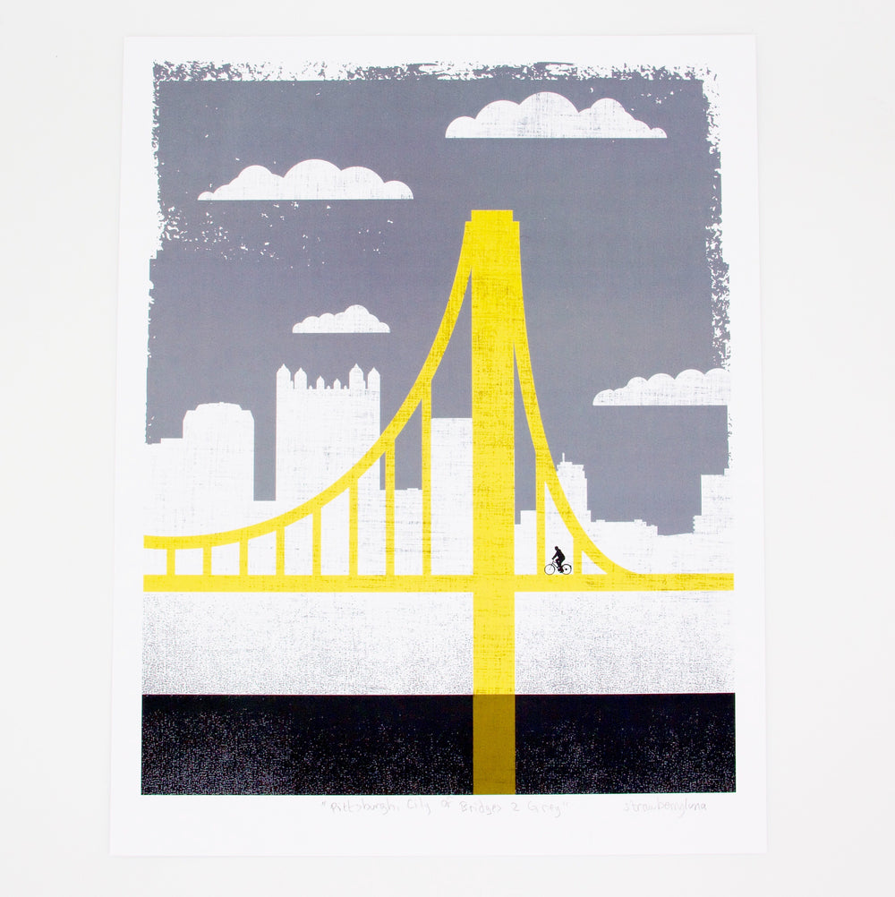 Small Grey City of Bridges Print 2