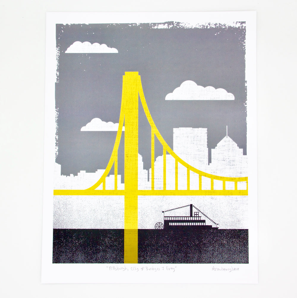 Small Grey City of Bridges Print 1
