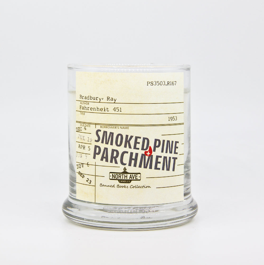 Smoked Pine + Parchment Candle / Inspired by Fahrenheit 451