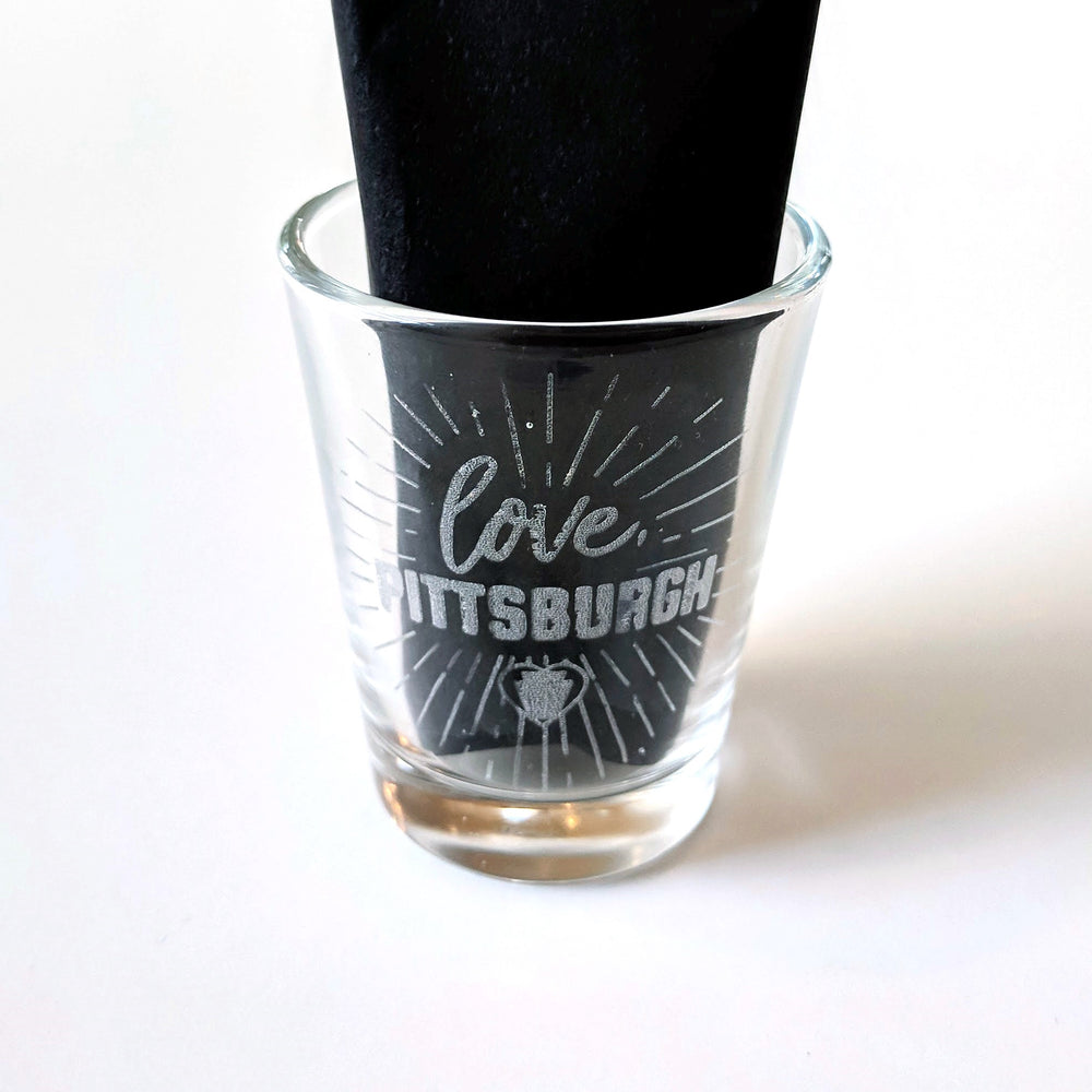 love, Pittsburgh Burst Logo Shot Glass