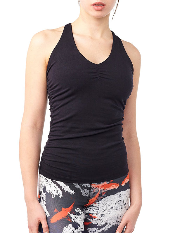 V-neck tank yoga topp - Black
