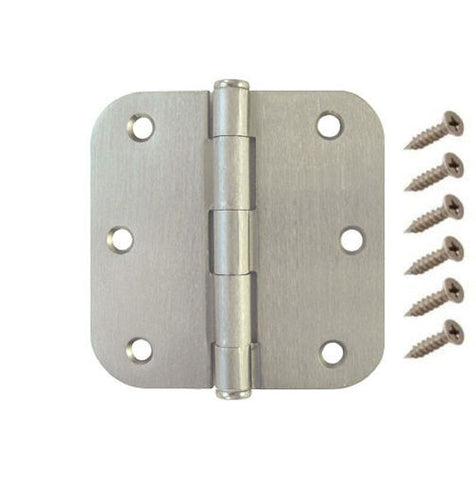 "Radius Door Hinge Brushed Satin Nickel US15 - 3.5""x3.5"" w 5/8"""