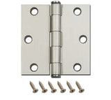"Straight Square Corner Door Hinge Brushed Satin Nickel 3.5""x3.5"""