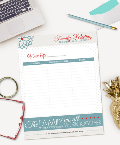 Family Meeting Agenda And Notes Digital Download  A Mess Free Life