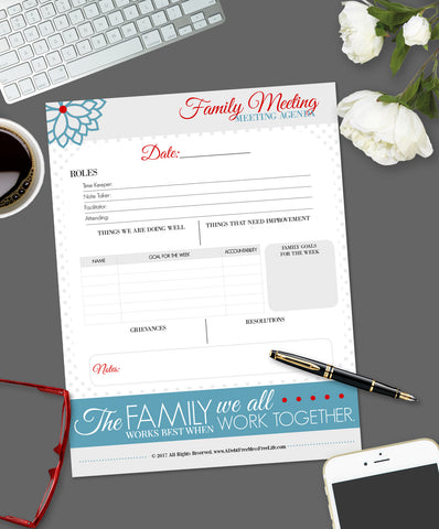 Family Meeting:  Agenda and Notes {Digital Download}