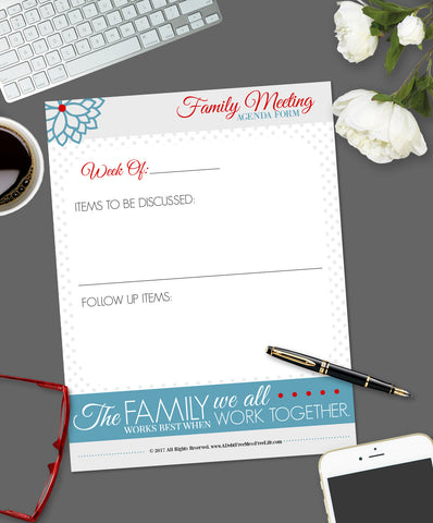 Family Meeting:  Agenda Items For Discussion Form {Digital Download}