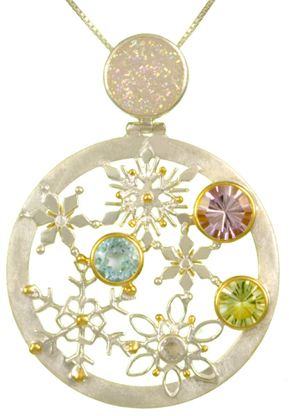 Michou  Snowflake Disc Gemstone Pendant-Winter Wonderland
