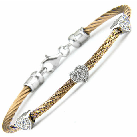 Lau International 3 Diamond Hearts Rose  Gold Cable Bracelet