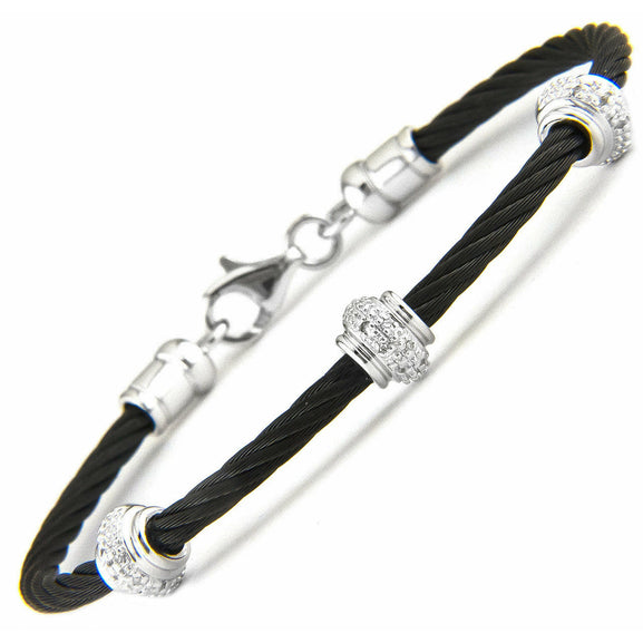 Lau International 3 Diamond Rondel Black Cable Bracelet
