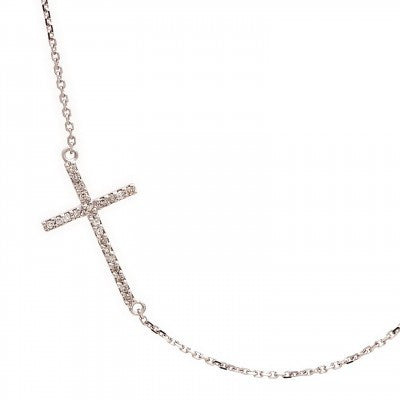 Lau International Diamond/Whtie Gold Side Cross Necklace