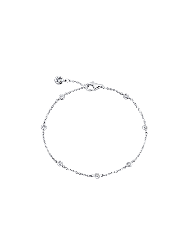 CRISLU Small Bezel Station Anklet Finished in Pure Platinum