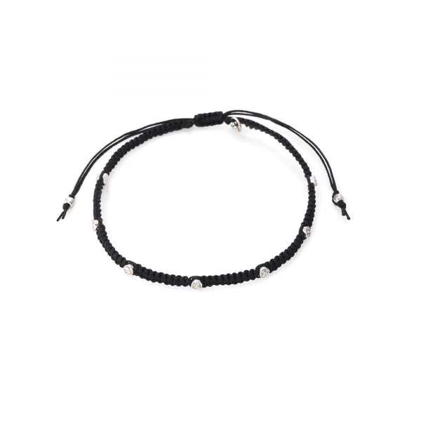 TAI Braided Silk Cord Bracelet w Mini CZ Disc
