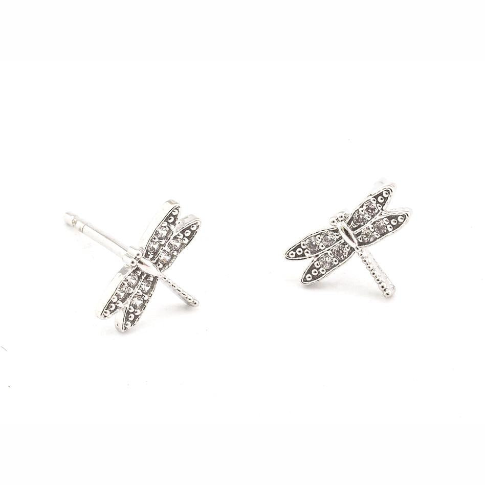 TAI PAVE DRAGONFLY STUD EARRINGS