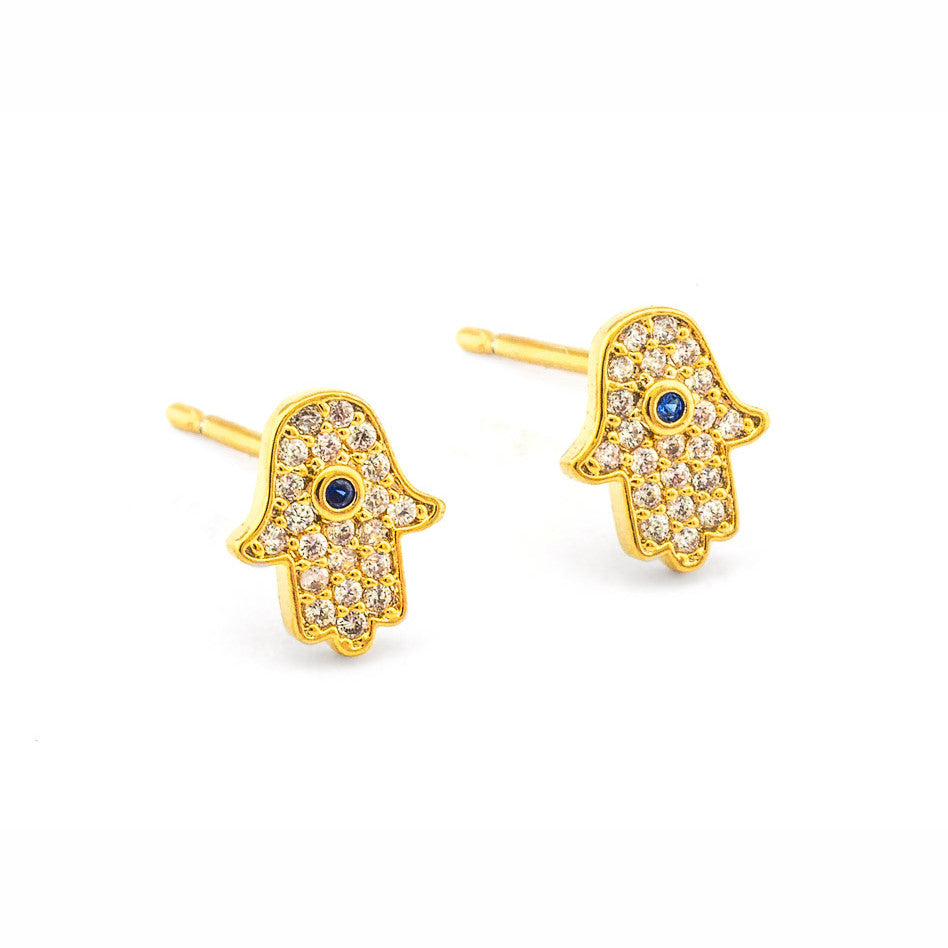 Tai  Pave Hamsa  Earrings - Gold