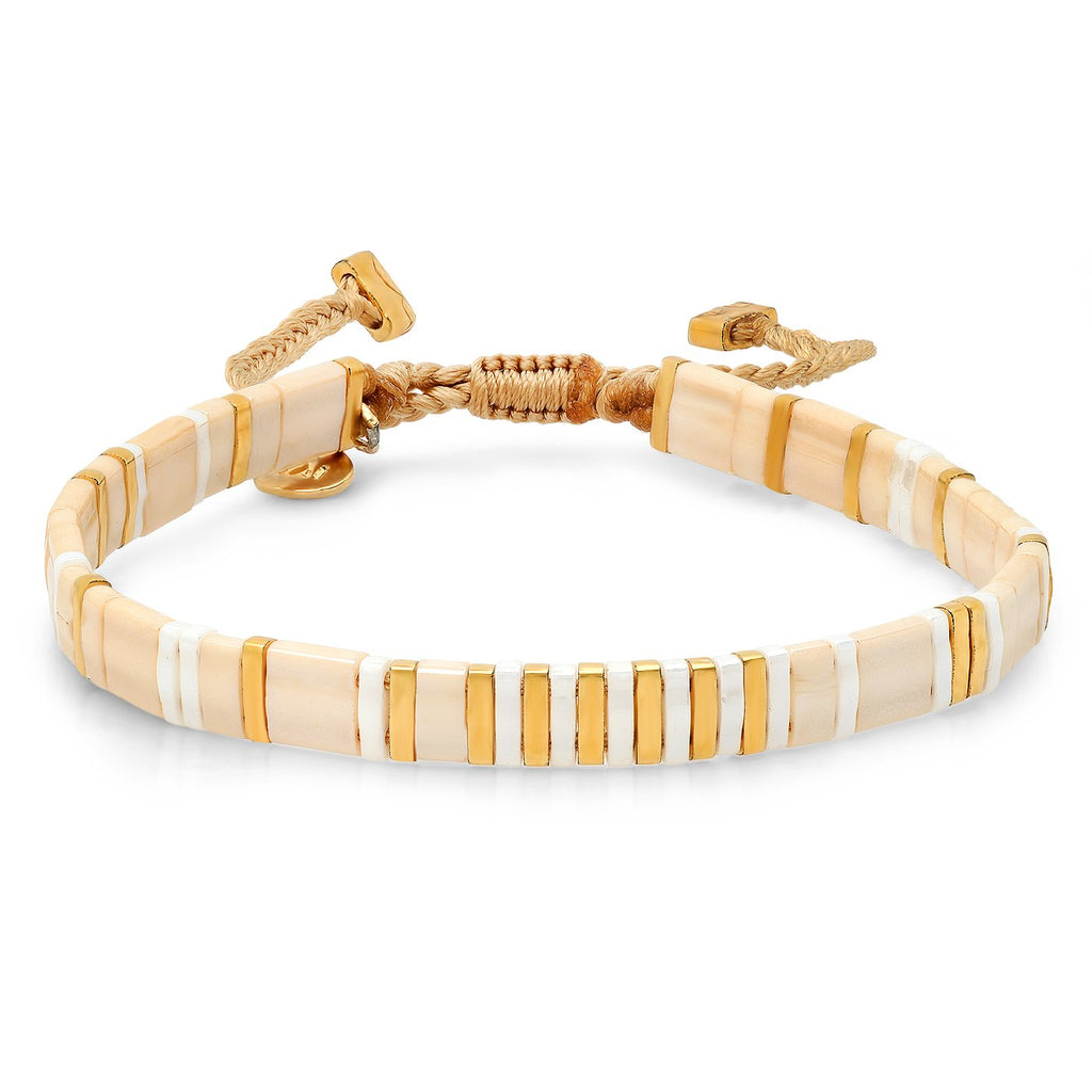 TAI Stripes and Blocks Bracelet in Seashell