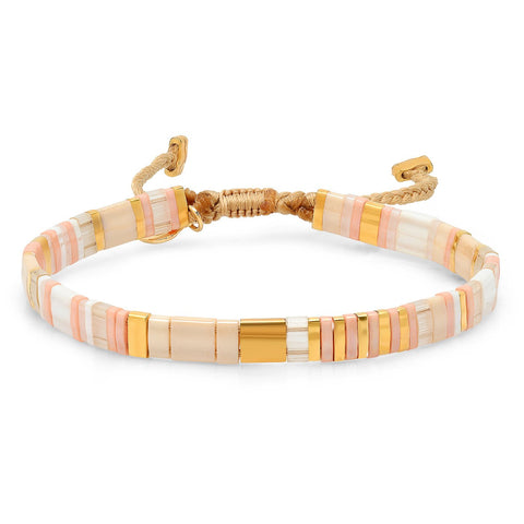 TAI Stripes and Blocks Bracelet in Pink Sand