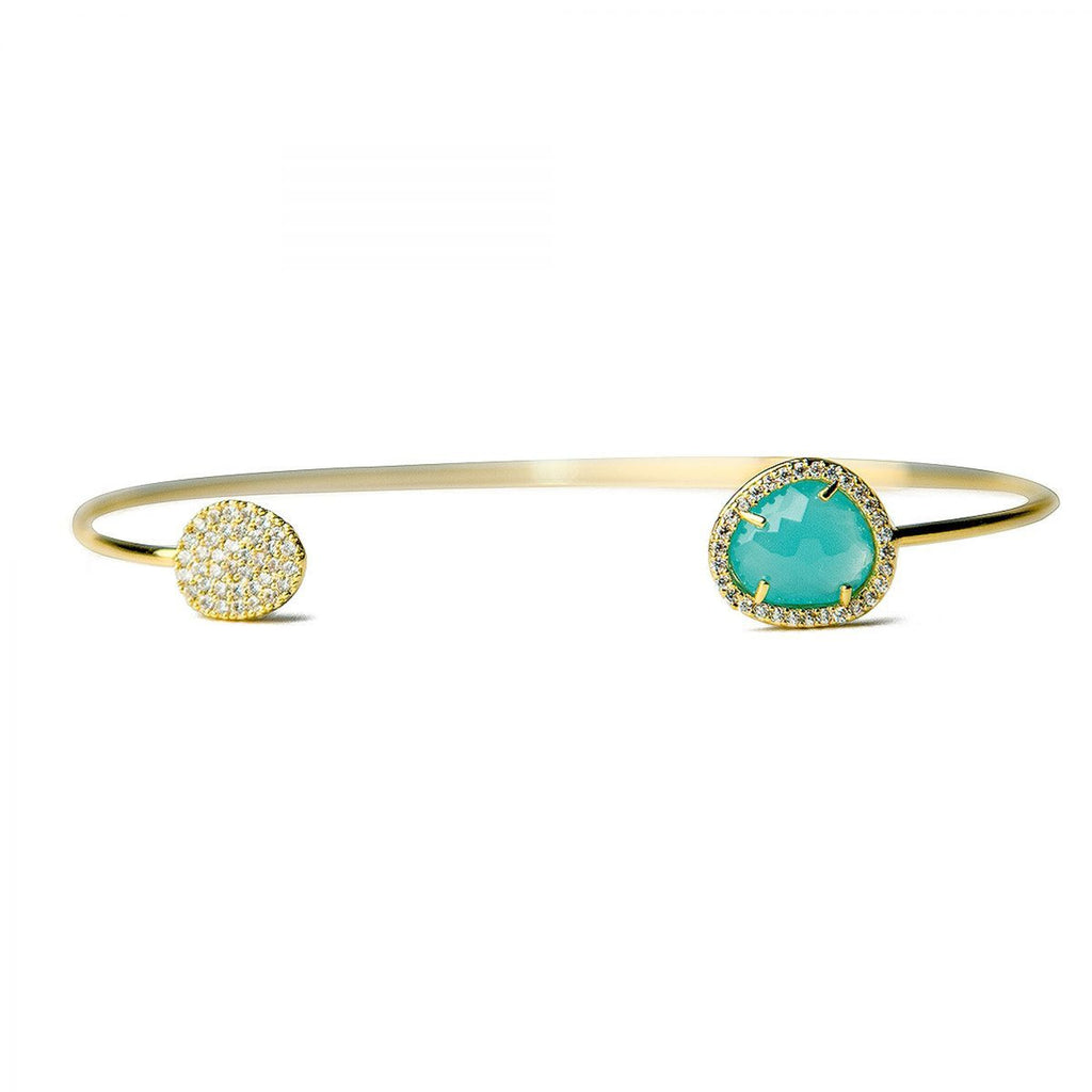 Tai Mint Glass with Pave Cuff Bracelet -Gold