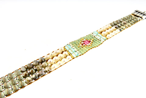Chili Rose Pearl Sweetheart Tiffany Beaded Bracelet