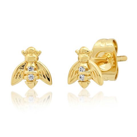 TAI GOLD MINI BEE STUDS WITH CZ ACCENTS
