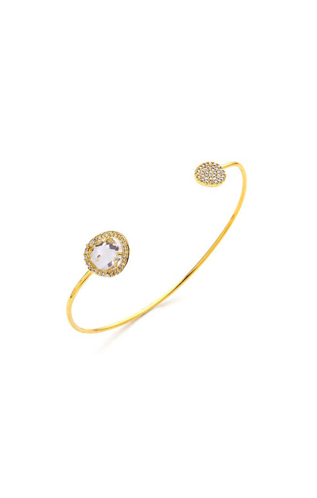 Tai  Glass with Pave Cuff Bracelet- Gold