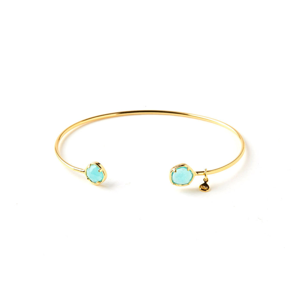 Tai Small Glass Open Cuff Bracelet -Aqua & Gold