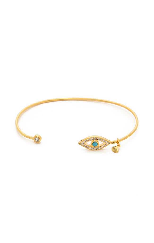 Tai Turquoise Evil Eye Open Cuff -Gold