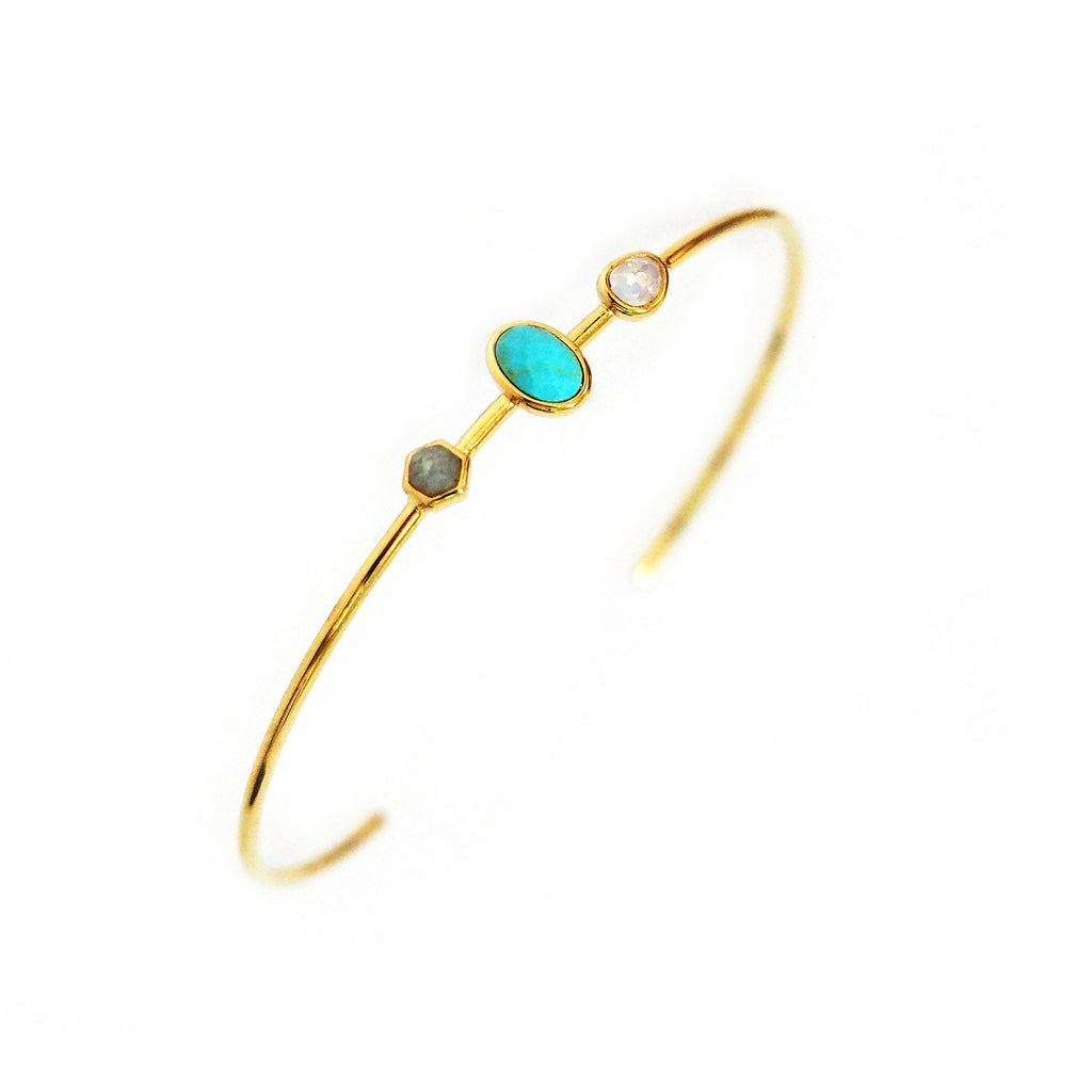 TAI TURQUOISE, MOONSTONE AND LABRADORITE OPEN CUFF BRACELET