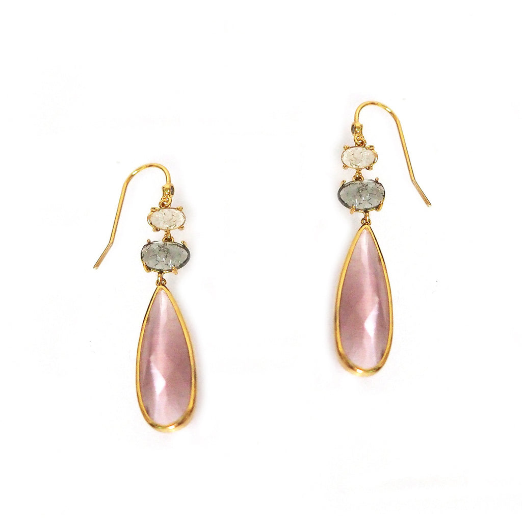 TAI Triple Stone Tear Drop Earrings