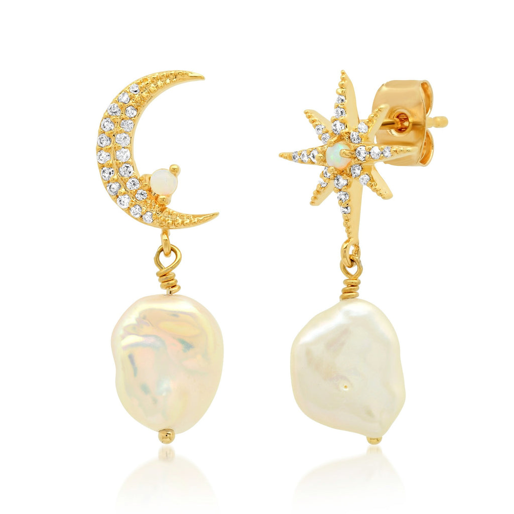 TAI MOON AND STAR PEARL DROP EARRINGS
