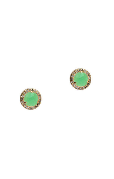 Tai Glass Chrysophrase  stud earrings - Gold