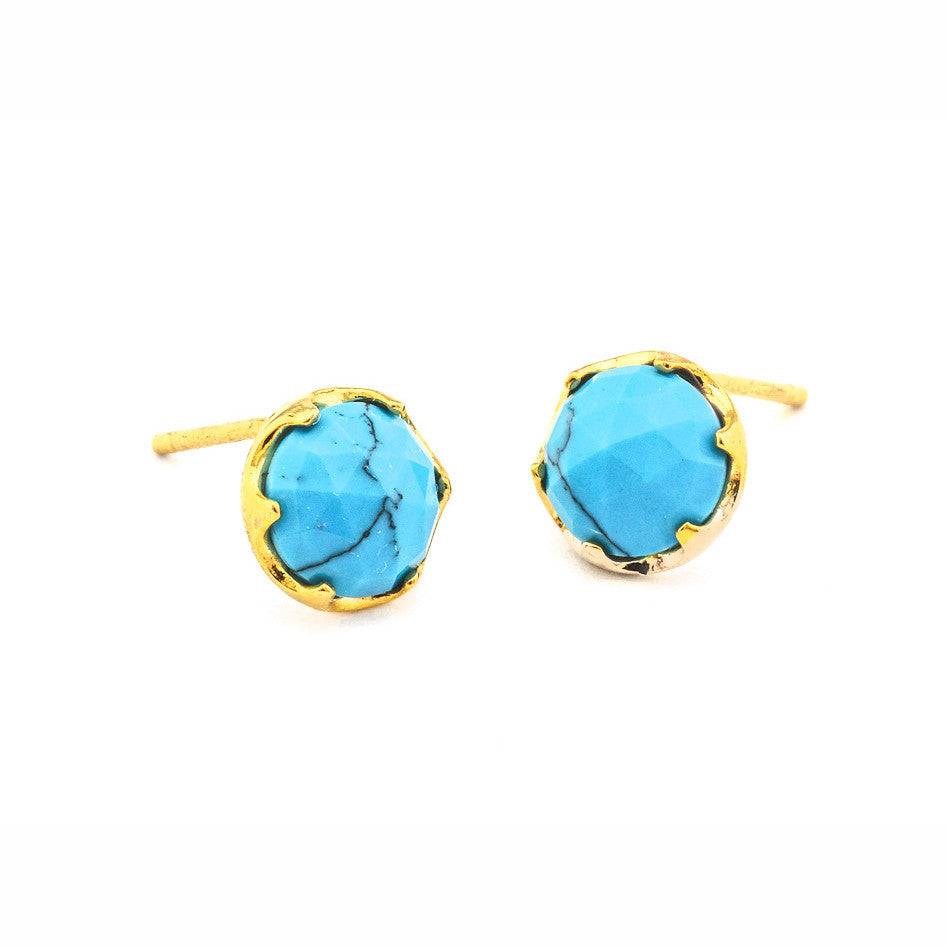 TAI Large Glass Turquoise  Stud Earrings - Gold