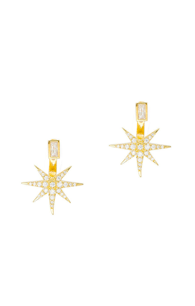 Tai Starburst Jacket Earrings - Gold