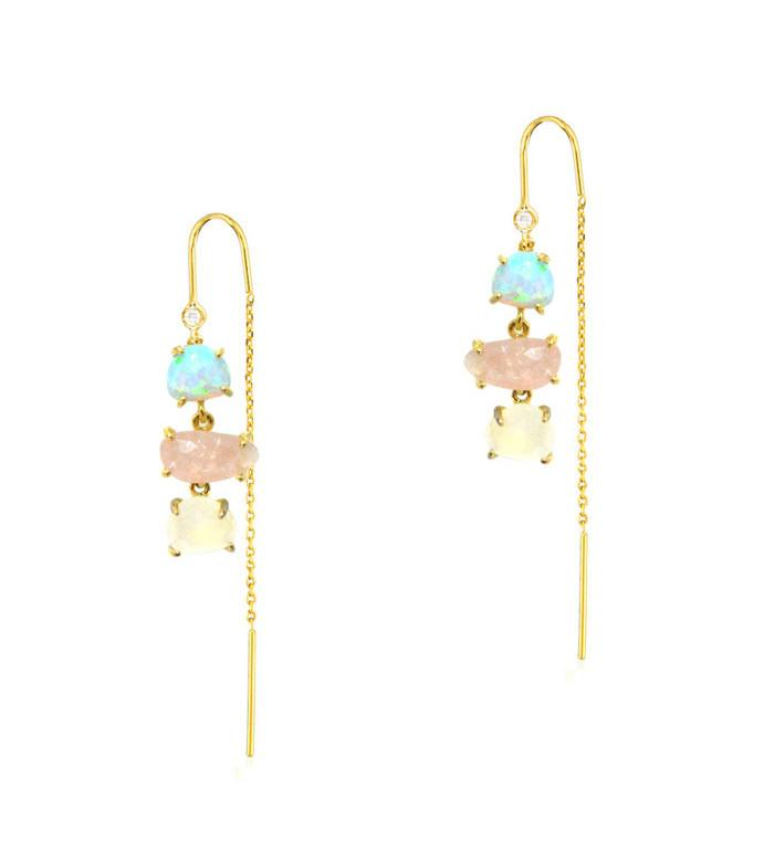TAI GOLD 3 STONE THREADER EARRINGS
