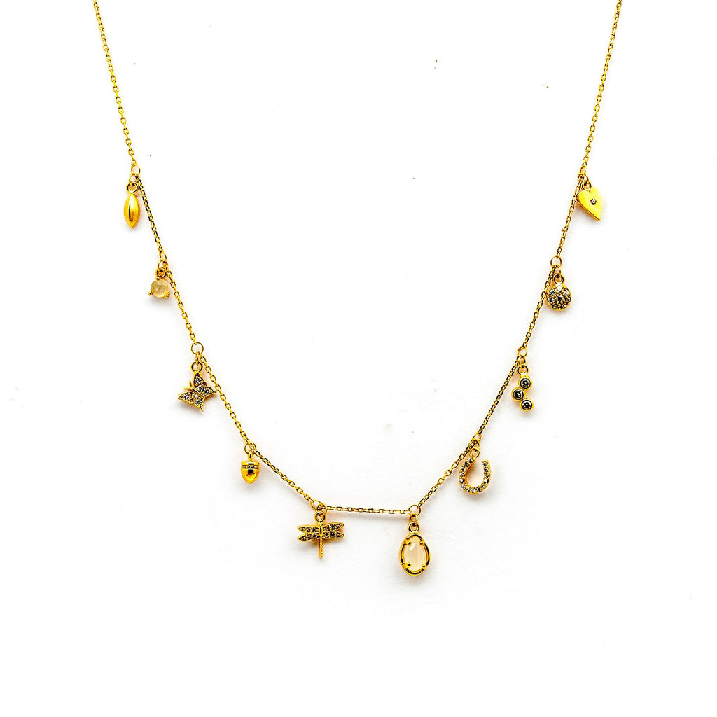 TAI Gold Multi Charm Necklace with Dragonfly Charm