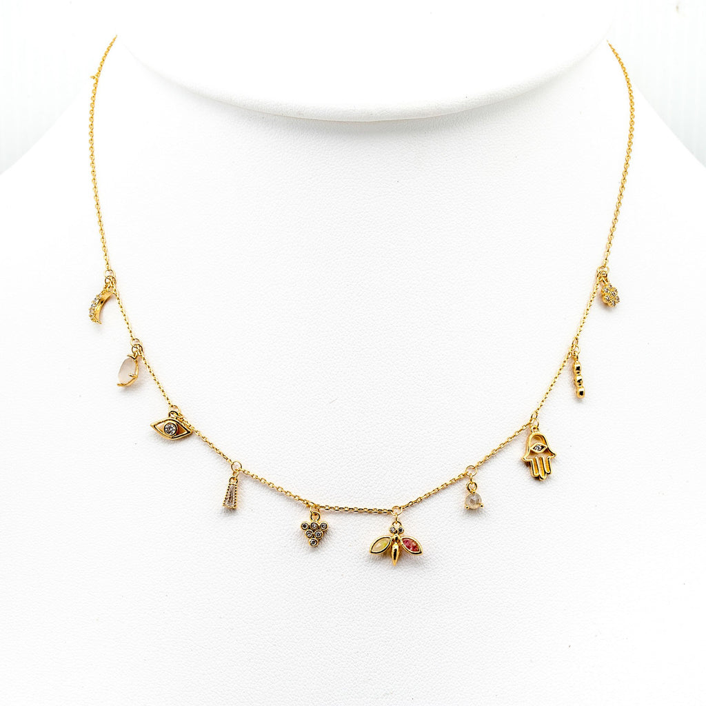 TAI Hamsa Gold Charm Necklace
