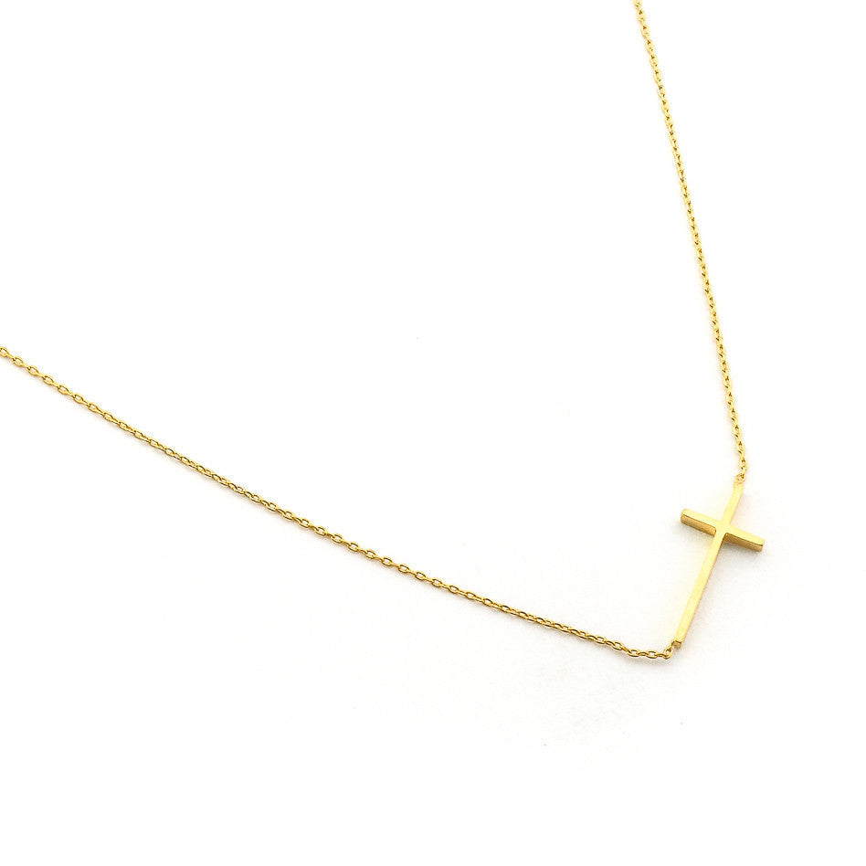 TAI  Horizontal Cross  Necklace - Gold