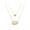 TAI DOUBLE LAYERED CHAIN DRUSY NECKLACE