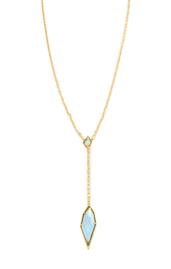 Tai Stone Drop Chain Necklace- Gold